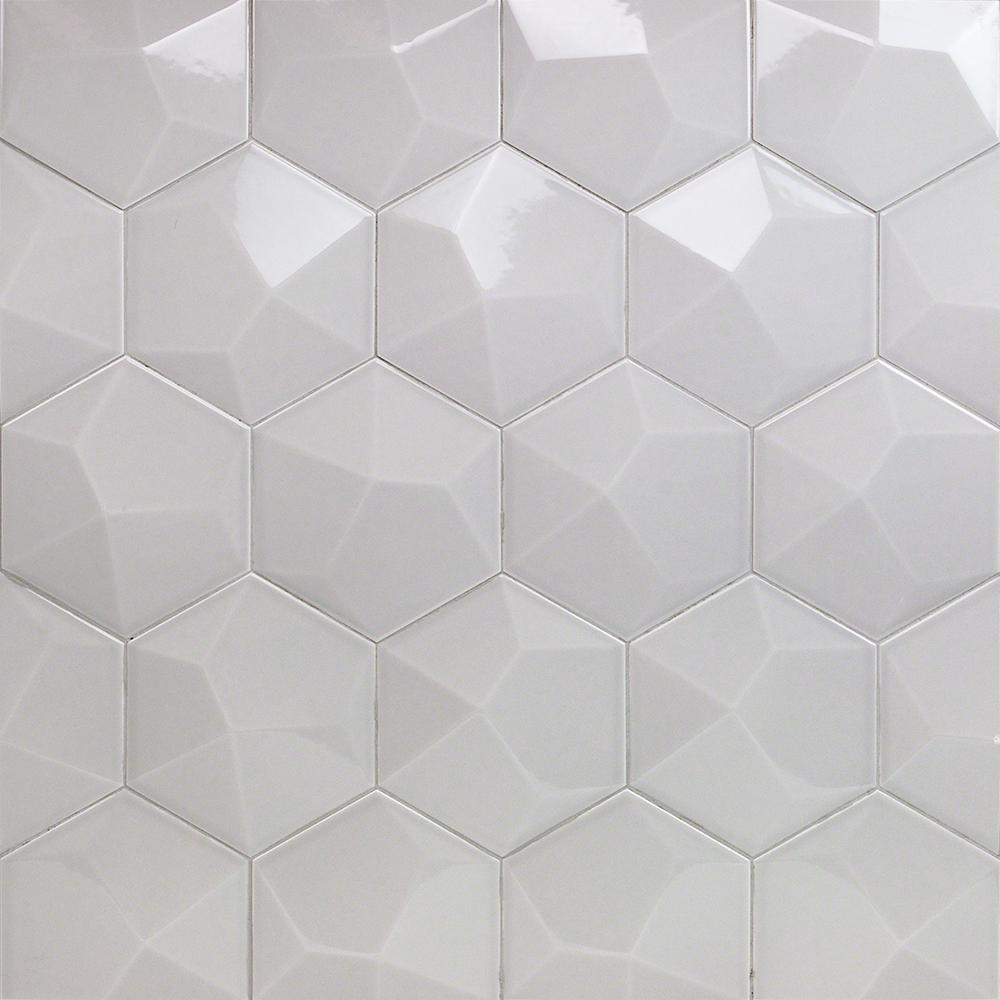 . Ivy Hill Tile Bethlehem 3D Hexagon Pearl 5 9 in  x 6 96 in  x 8mm Polished  Ceramic Wall Tile  25 pieces   5 4 sq  ft    box