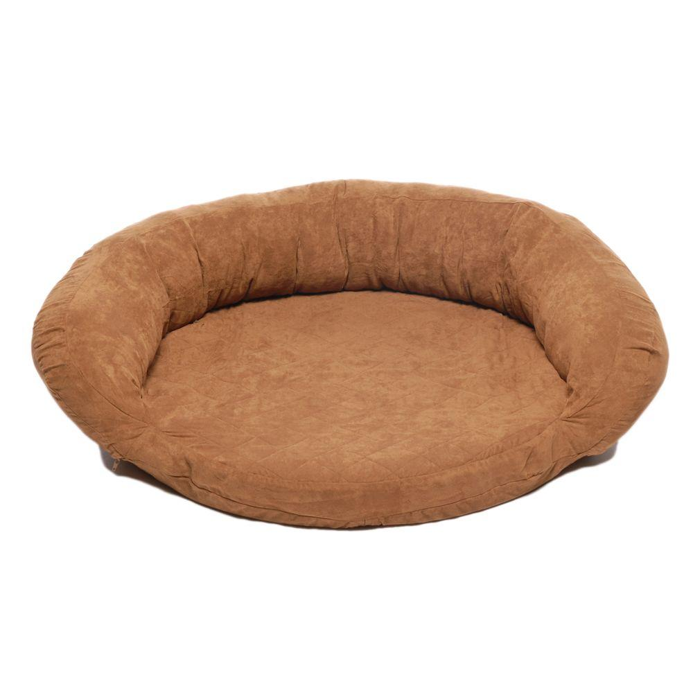 null Large Protector Pad with Bolster Pet Bed - Chocolate-DISCONTINUED