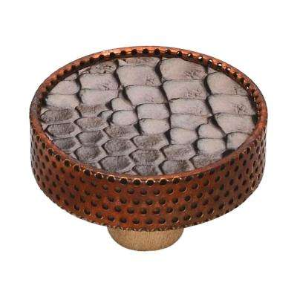 Faux Crocodile 1-3/5 in. Flesh Tint Leatherite Cabinet Knob