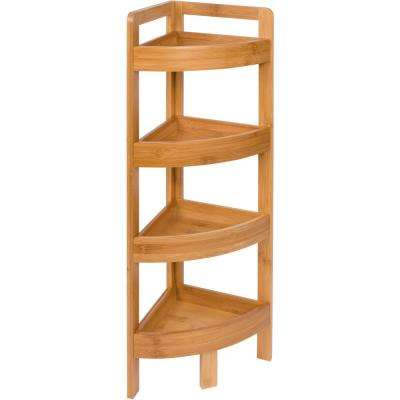9 in. D x 9 in. W x 31.5 in. H 4-Tier Bamboo Corner Decorative Shelf