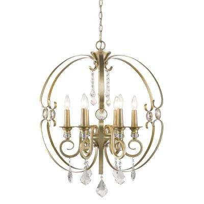 Ella 6-Light White Gold Chandelier