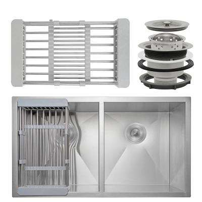 Handcrafted All-in-One Undermount Stainless Steel 32 in. x 18 in. x 9 in. Double Bowl Kitchen Sink with Tray and Drain