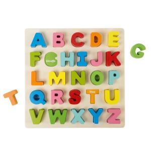 Hey! Play! Wooden Alphabet Puzzle Board with Colorful Wood Letters