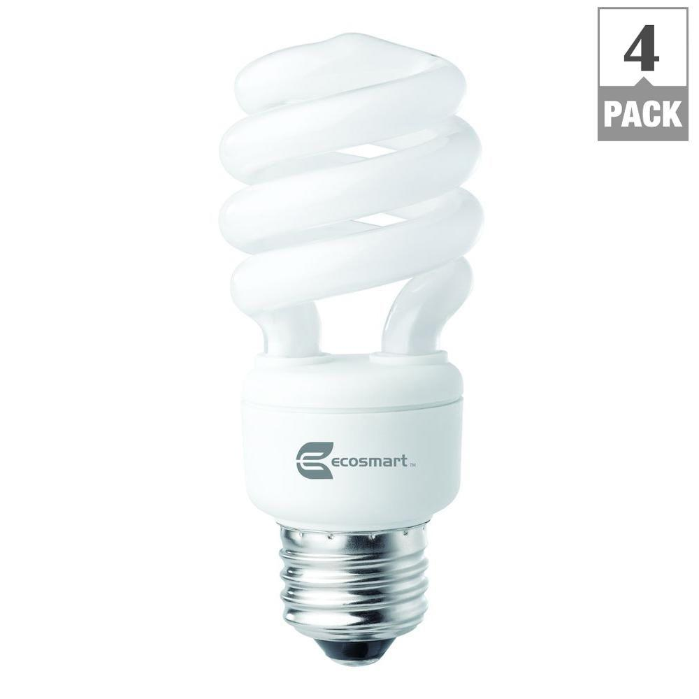 60W Equivalent Daylight Spiral CFL Light Bulbs (4-Pack)