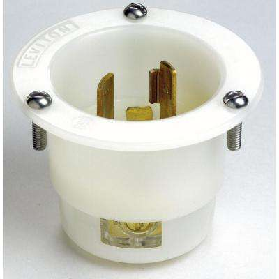 20 Amp 250-Volt Flanged Inlet Grounding Locking Outlet, White