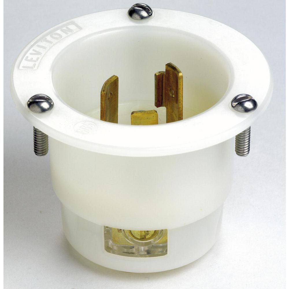 Leviton 20 Amp 250-volt Flanged Inlet Grounding Locking Outlet  White-2325