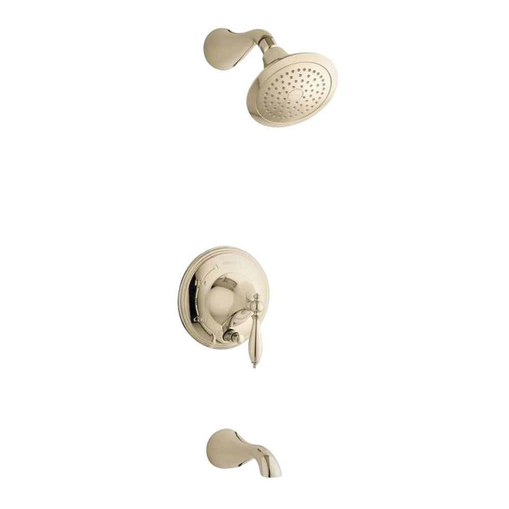 KOHLER Finial 1-Handle Bath and Shower Faucet Trim in Vibrant French Gold (Valve Not Included)