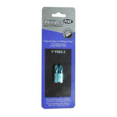 PSD2-2 Philips Driver Bit 1 in. Long for Deck Mate or Screws (2-Pack)