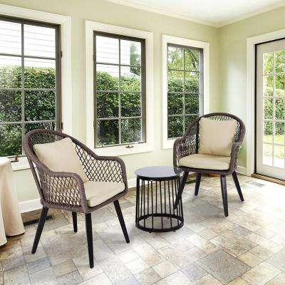 3 Piece Steel Bistro Set With Beige Cushions for Both Outdoor and Indoor Use