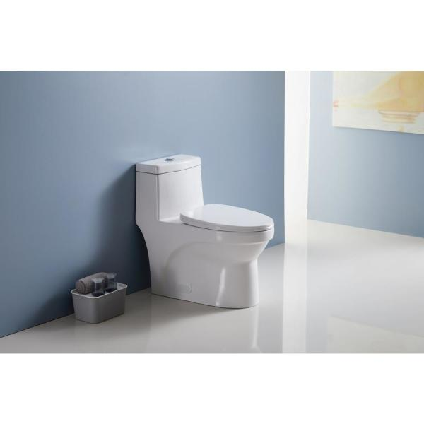 Nestfair Vita 1 Piece 1 1 1 6 Gpf Dual Flush Elongated Toilet In White Seat Included Lw50822659 The Home Depot
