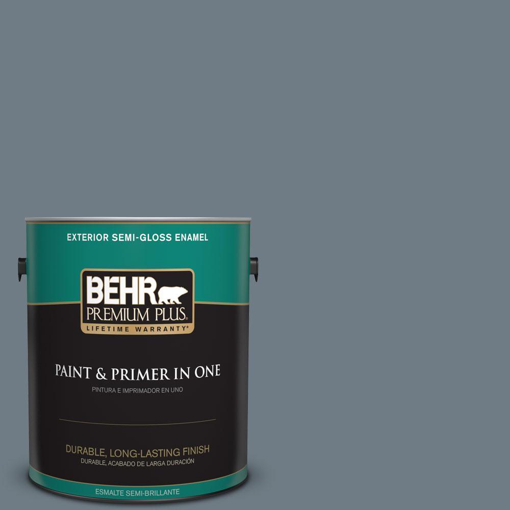 BEHR Premium Plus 1-gal. #N490-5 Charcoal Blue Semi-Gloss Enamel Exterior Paint