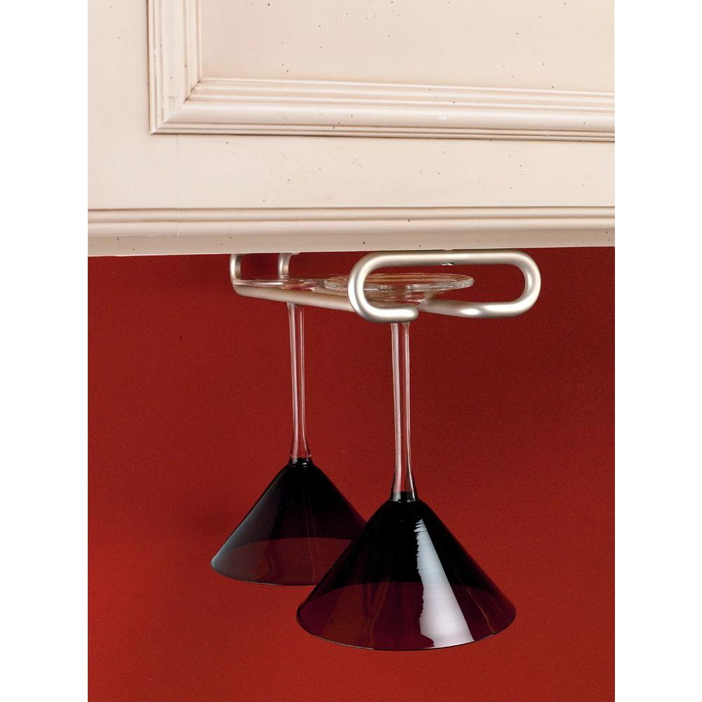Rev-A-Shelf 1.5 in. H x 4.25 in. W x 18 in. D Satin Nickel Under Cabinet Wine Glass Holder