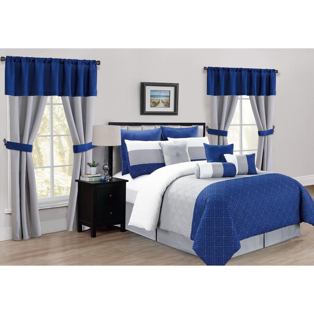 Somorset 20 Piece Oversize/Overfilled Queen Comforter Set in Indigo