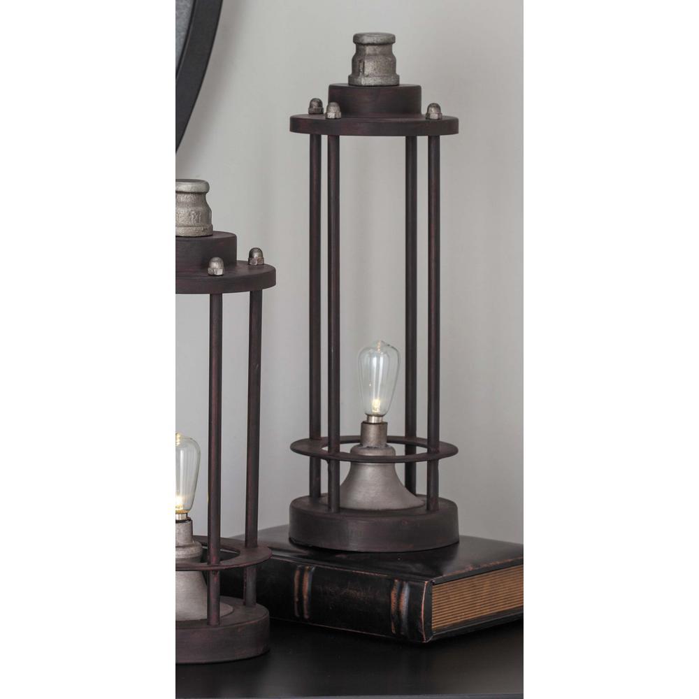 Litton Lane Vintage 13 in. Rusted Iron LED Lantern