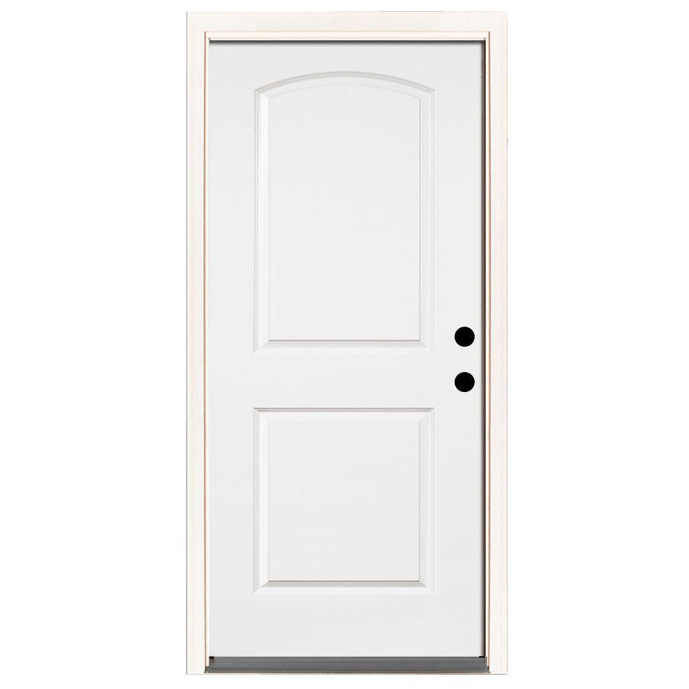 Steves & Sons 36 in. x 80 in. Premium 2-Panel Roundtop Left-Hand Inswing Primed White Steel Prehung Front Door with 6-9/16 in. frame
