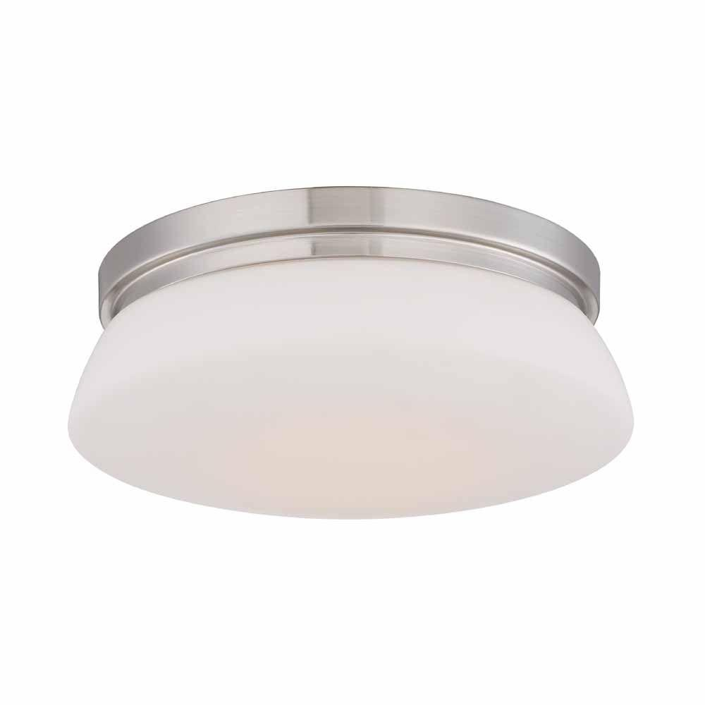 Hampton Bay 13 in Brushed Nickel LED Flush Mount with Opal Glass