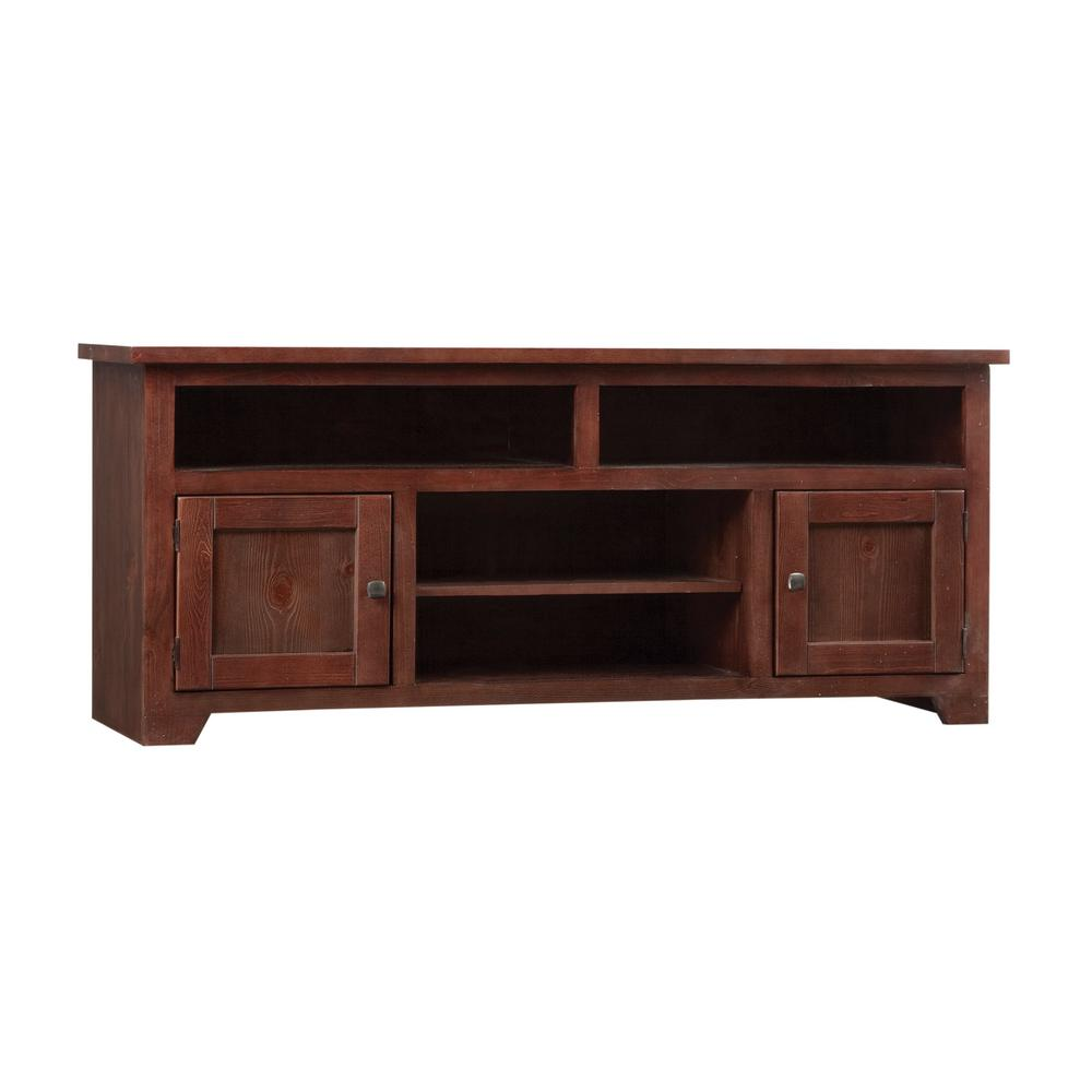 Sonoma 60 in. Espresso Pine Wood TV Stand Fits TVs Up to 65 in. with Storage Doors