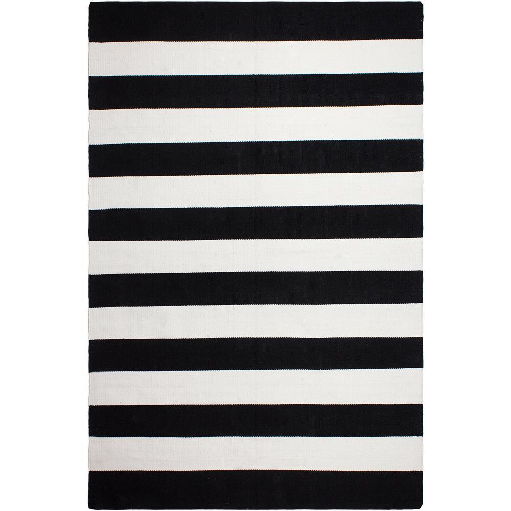 Nantucket Indoor/Outdoor Black and White 6 ft. x 9 ft. PET Area Rug