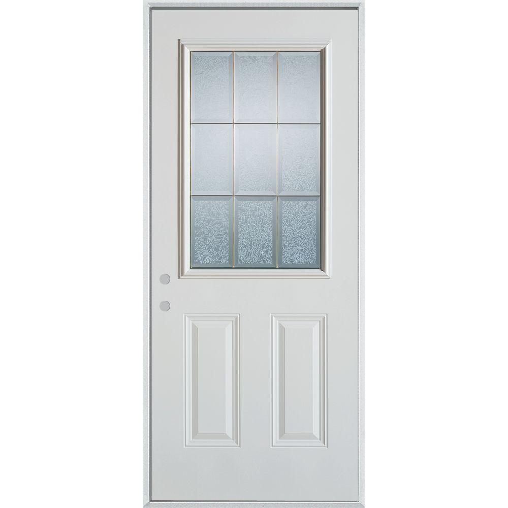 Stanley Doors 36 in. x 80 in. Geometric Glue Chip and Zinc 1/2 Lite 2-Panel Painted Right-Hand Inswing Steel Prehung Front Door