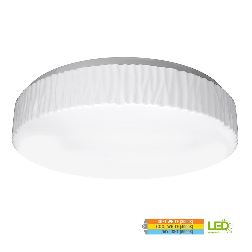 Glacier Style 15 in. Round White 100 Watt Equivalent Integrated LED