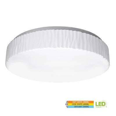 Glacier Style 15 in. Round White 100 Watt Equivalent Integrated LED Flush Mount with Color Temperature Changing Feature