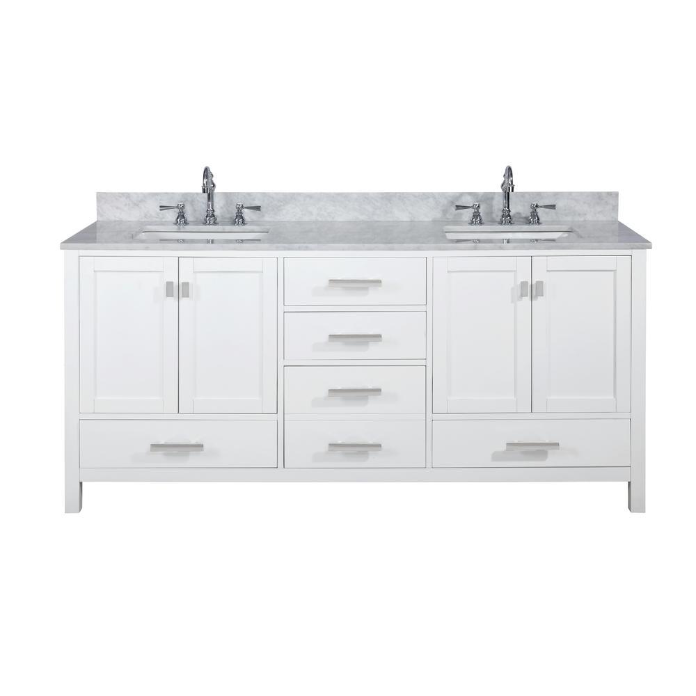 Valentino 72 in. W x 22 in. D Bath Vanity in White with Carrara Marble Vanity Top in White with White Basin