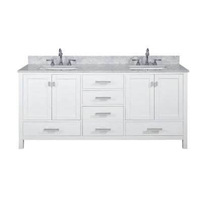Valentino 72 in. W x 22 in. D Bath Vanity in White with Carrara Marble Vanity Top in White with White Basin