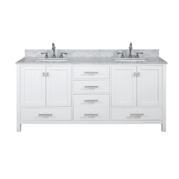 Design Element Valentino 72 In W X 22 In D Bath Vanity In White With Carrara Marble Vanity Top In White With White Basin V01 72 Wt The Home Depot
