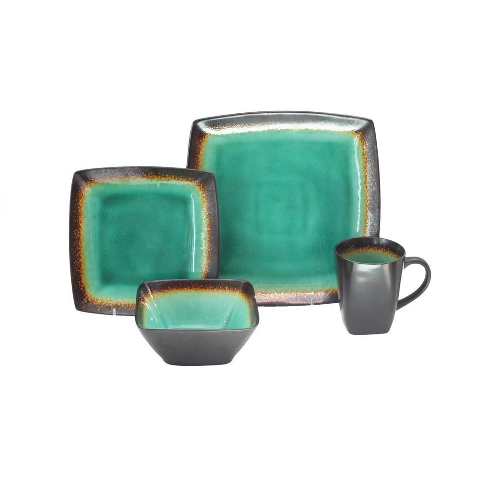 Zen Jade 16-Piece Green Dinnerware set