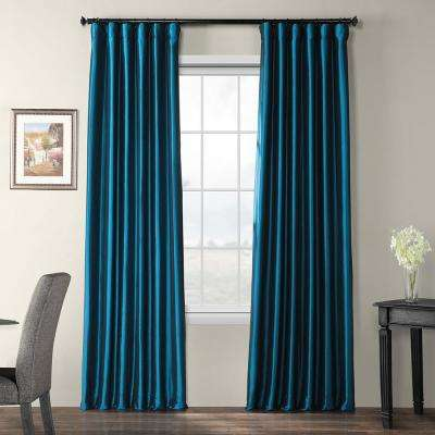 Meditteranean Blue Blackout Faux Silk Taffeta Curtain - 50 in. W x 120 in. L