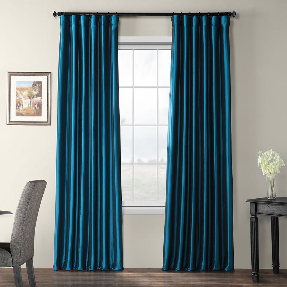 Meditteranean Blue Blackout Faux Silk Taffeta Curtain - 50 in. W x 96 in. L