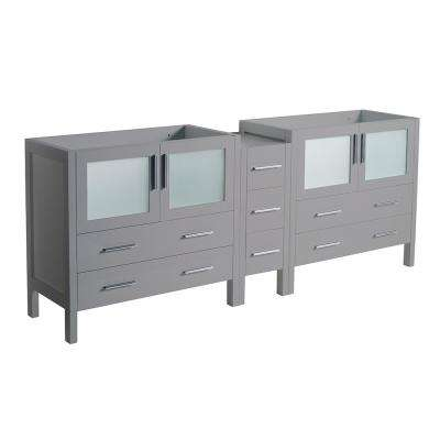 Torino 83 in. W Modern Double Bath Vanity Cabinet Only in Gray with Middle Cabinet