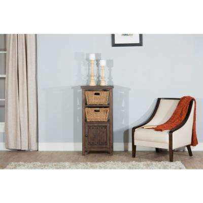 Tuscan Retreat Mocha Basket Stand with 2-Baskets