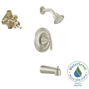 Moen Eva Single-Handle 1-Spray Posi-Temp Tub and Shower Faucet with Valve in Brushed Nickel (Valve Included) by MOEN