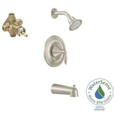 Eva Single-Handle 1-Spray Posi-Temp Tub and Shower Faucet with Valve in Brushed Nickel