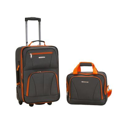 Rockland Rio Expandable 2-Piece Carry On Softside Luggage Set, Charcoal