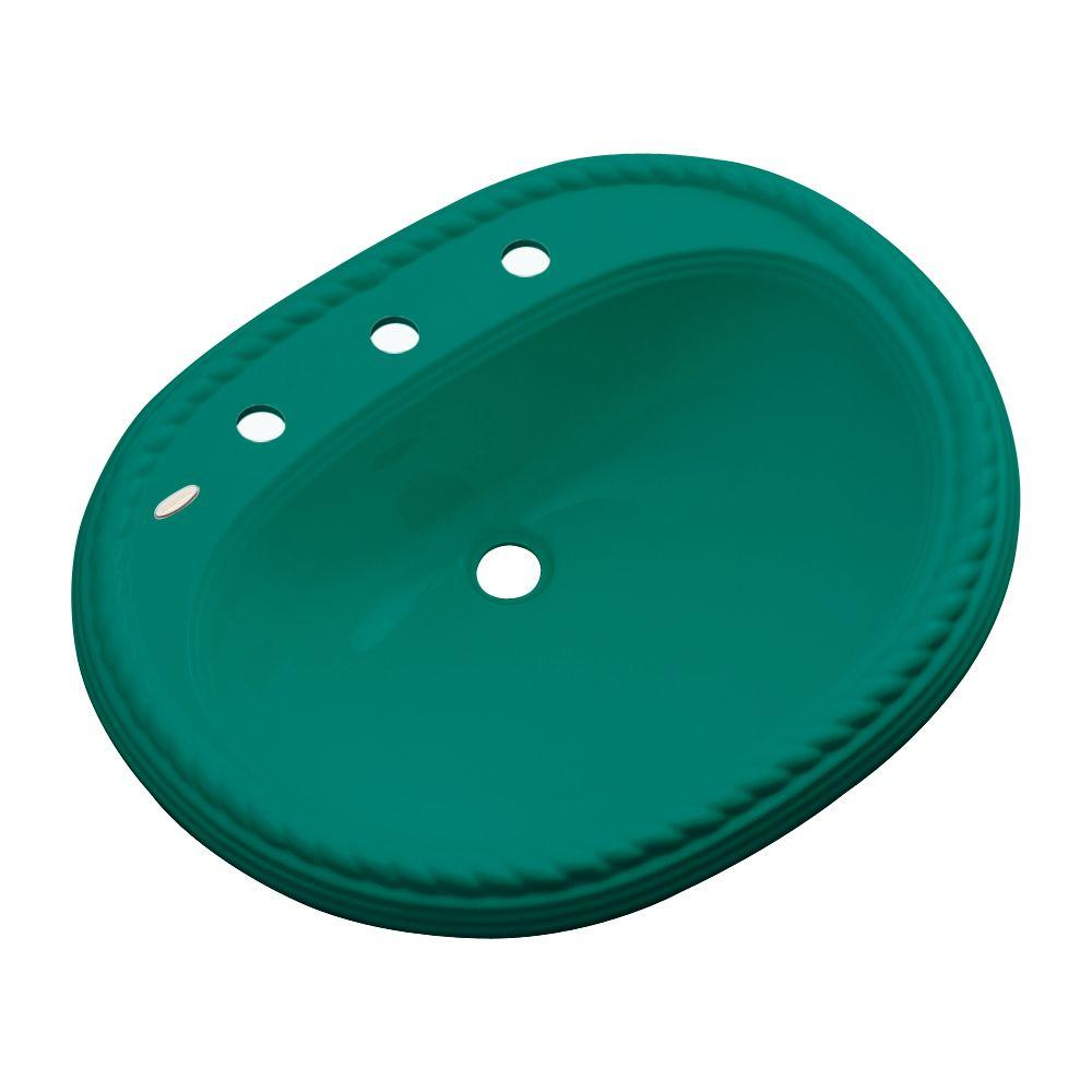 null Malibu Drop-In Bathroom Sink with Faucet Hole in Verde
