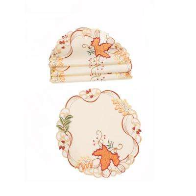 0.1 in. H x 12 in. W Round Falling Leaves Embroidered Cutwork Doilies (Set of 4)