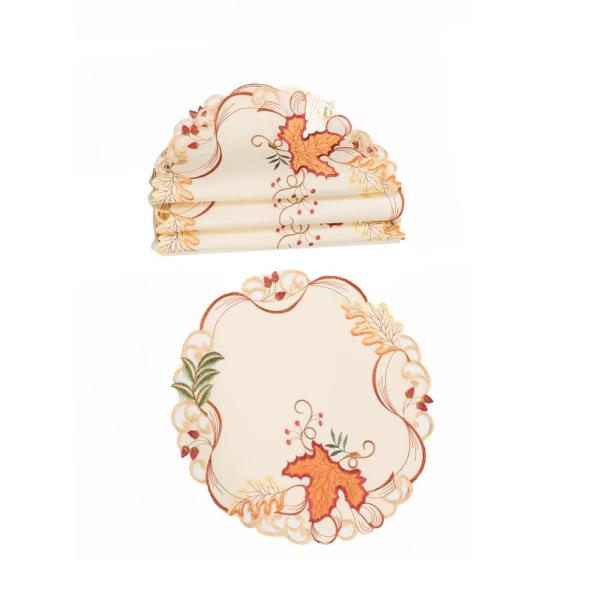 0.1 in. H x 16 in. W Falling Leaves Embroidered Cutwork Placemats (Set of 4)