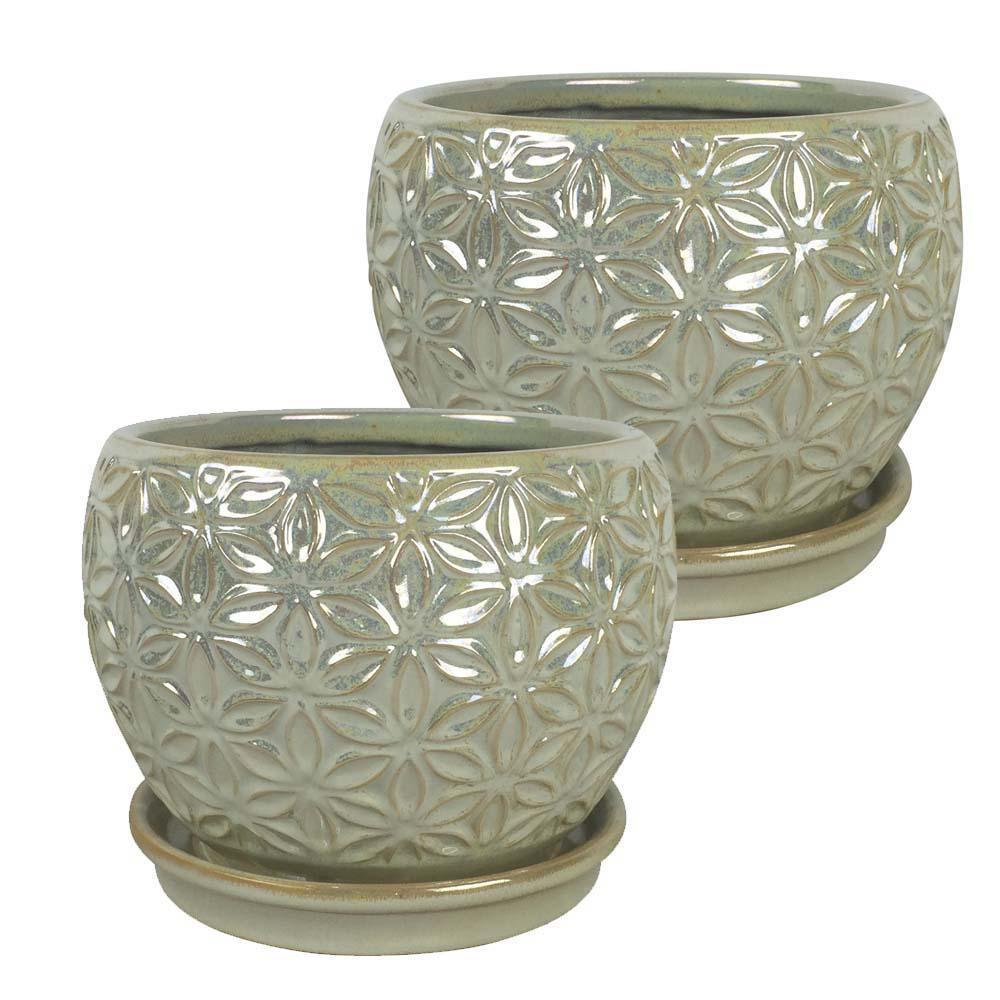 Elora 8 in. Dia  Pearl Ceramic Planter (2-Pack)