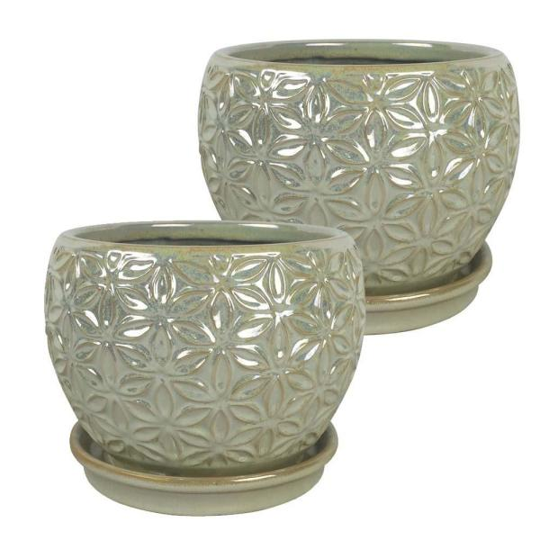 Elora 8 in. Dia  Pearl Ceramic Planter (2-Pack)