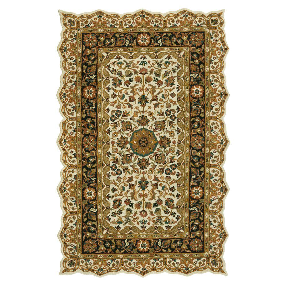 Masterpiece Beige and Black 5 ft. x 8 ft. Area Rug