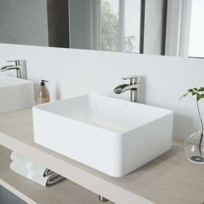 Amaryllis White Matte Stone Vessel Bathroom Sink and Brushed Nickel Niko Faucet Set with Pop-up Drain in Matching Finish