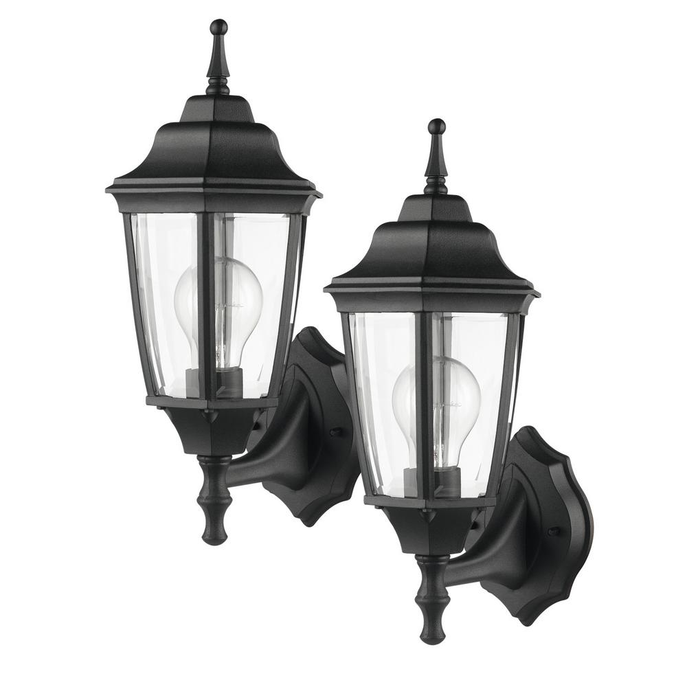 Oxford 1-Light Matte Black and Clear Glass Outdoor Upward Wall Sconce
