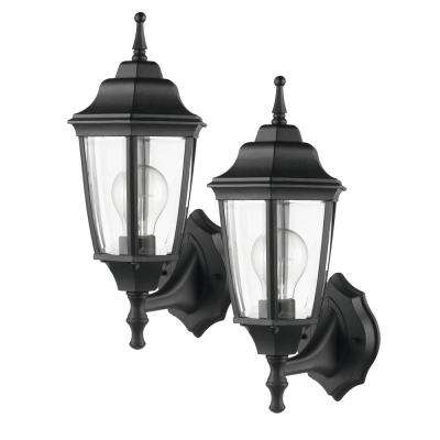 Oxford 1-Light Matte Black and Clear Glass Outdoor Upward Wall Sconce (2-Pack)