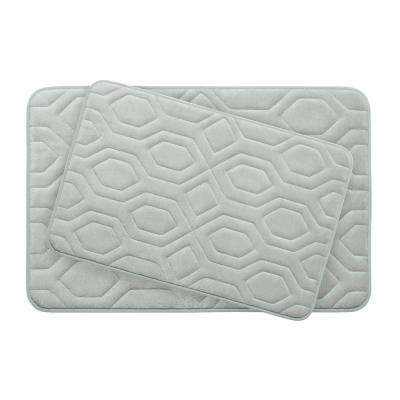 Turtle Shell Light Gray 17 in. x 24 in. Memory Foam 2-Piece Bath Mat Set