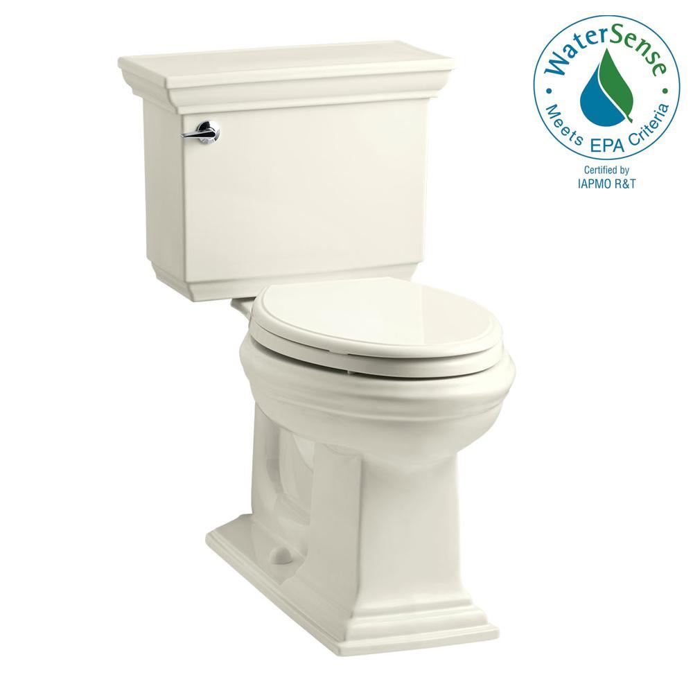 KOHLER Memoirs Stately 2-piece 1.28 GPF Single Flush Elongated Toilet with AquaPiston Flush Technology in Biscuit