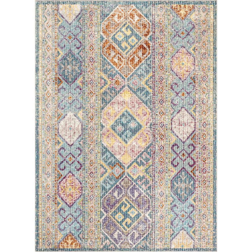 Allure Eden Blue Vintage Pastel Southwestern 3 ft. 11 in. x 5 ft. 3 in. Area Rug