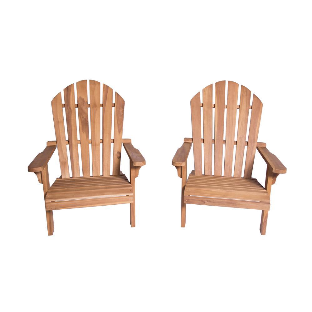 Redondo Teak Wood Adirondack Chair (2-Pack)