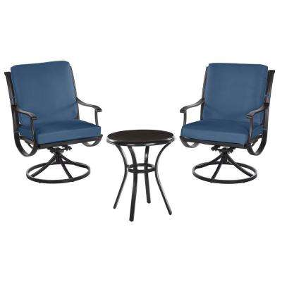 Redwood Valley Black 3-Piece Steel Outdoor Patio Bistro Set with CushionGuard Sky Blue Cushions